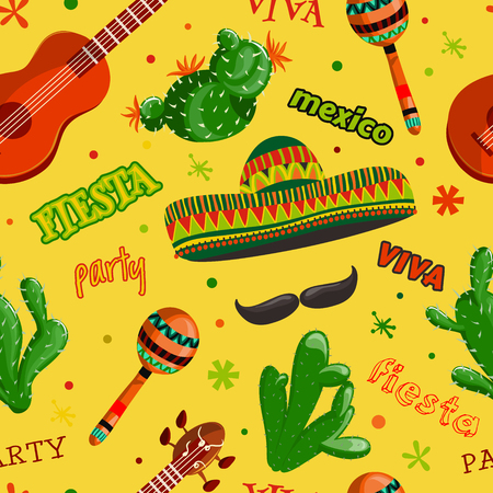 Seamless pattern Fiesta party with mexican guitar, maracas, sombrero, mustache and cactuses.Hand drawn vector illustration