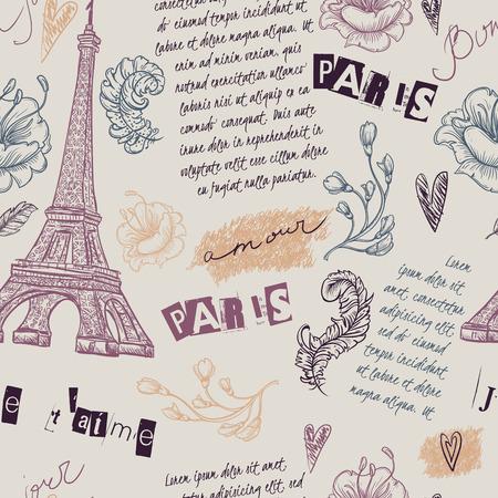 Parijs. Vintage naadloze patroon met Eiffeltoren, bloemen, veren en tekst. Retro hand getekende vector illustratie.