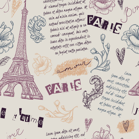 old postcard: Paris. Vintage seamless pattern with Eiffel Tower, flowers, feathers and text. Retro hand drawn vector illustration.