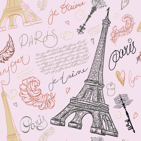 postcard: Paris. Vintage seamless pattern with Eiffel Tower, ancient keys, feathers and hand drawn lettering. Retro hand drawn vector illustration.