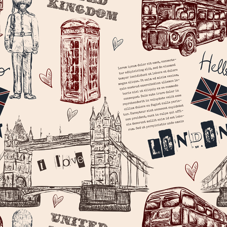 Seamless pattern with London landmark symbols. Vintage hand drawn vector illustration in sketch style.