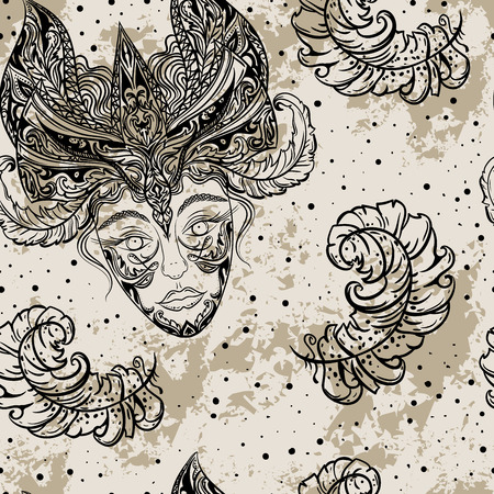 sexo femenino: Modelo inconsútil de la vendimia del partido del carnaval con la cabeza femenina en máscara de la mascarada y plumas en el grunge background.Hand ejemplo del vector dibujado. Diseño retro de la invitación, tarjeta, impresión, camiseta, postal