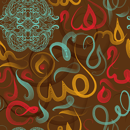 Colorful seamless pattern ornament Arabic calligraphy of text Eid Mubarak concept for muslim community festival Eid Al FitrEid MubarakTranslation: thank god