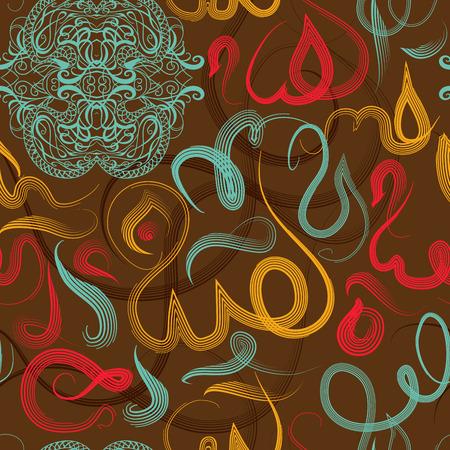 arabische letters: Kleurrijk naadloos patroon ornament Arabische kalligrafie van tekst Eid Mubarak concept voor de moslimgemeenschap festival Eid Al FitrEid MubarakTranslation: god zij dank