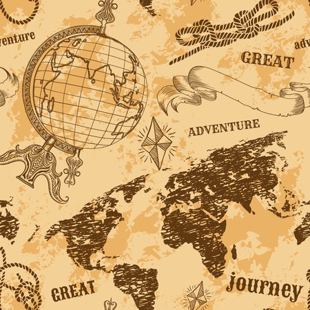 adventure travel: Seamless pattern with vintage globe, abstract world map, rope knots, ribbon. Retro hand drawn vector illustration Great adventure in sketch style with grunge background old paper