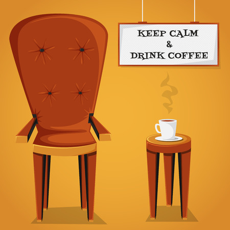 retro furniture: Vintage cartoon poster Keep calm and drink coffee with retro furniture and cup of coffee. Vector illustration