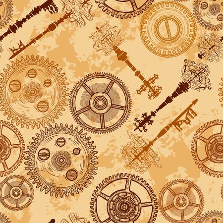 Jahrgang nahtlose Muster mit Zahnräder eines Uhrwerks und antiken Schlüssel auf im Alter von Papier Hintergrund. Retro handgezeichneten Vektor-Illustration.