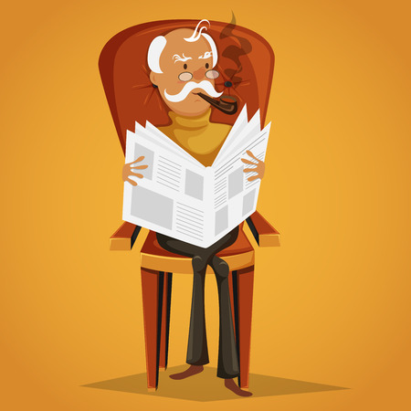 Old man smoking a pipe and reading a newspaper sitting on a armchair. Retro cartoon vector illustration