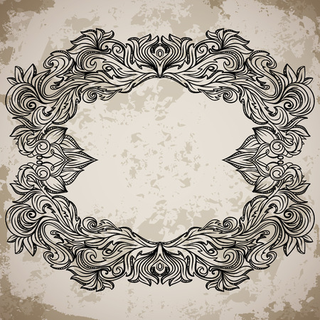 aged paper: Antique border frame engraving with retro ornament pattern. Vintage design decorative element in baroque style on aged paper. Retro hand drawn vector illustration