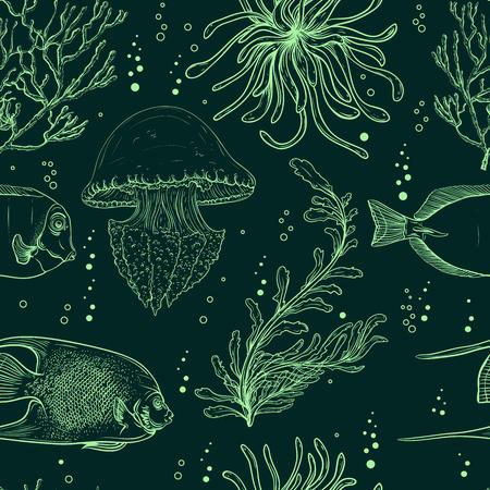熱帯魚、クラゲ、海洋植物、海藻とのシームレスなパターン。ベクトルのヴィンテージ手描きイラスト海洋生物。夏のビーチ、装飾品、印刷、パタ