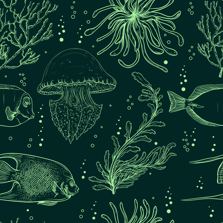 Seamless pattern with tropical fish, jellyfish, marine plants and seaweed. Vintage hand drawn vector illustration marine life. Design for summer beach, decorations, print, pattern fill, web surface Ilustracja