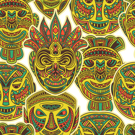 tiki head: Tribal mask collection. Colorful seamless pattern with ethnic ornament. Retro hand drawn vector illustration