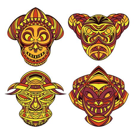 cultura maya: M�scara tribal. Colecci�n de m�scaras con el ornamento geom�trico �tnico. Dibujado a mano ilustraci�n vectorial