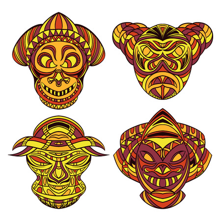 african mask: Tribal mask. Collection of masks with ethnic geometric ornament. Hand drawn vector illustration Illustration