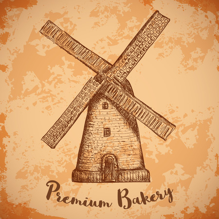 aged paper: Windmill. Premium bakery. Vintage poster, labels, pack for bread. Retro hand drawn vector illustration windmill farm in sketch style on aged paper background.