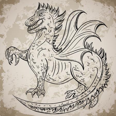Vintage medieval dragon. Retro highly detailed hand drawn illustration. Tattoo design, retro invitation, card, print, t-shirt, postcard, poster. Illustration