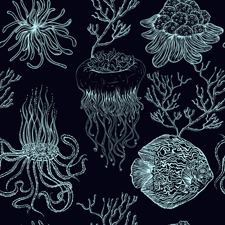 Seamless pattern with jellyfish, tropical fish, marine plants and corals. Vintage hand drawn vector illustration marine life. Design for summer beach, decorations, print, pattern fill, web surface