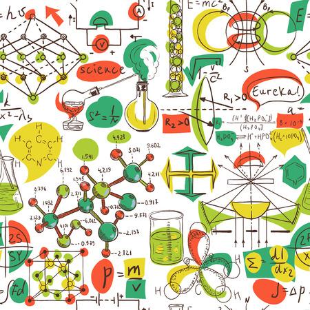 学校に戻る: 科学ラボ オブジェクト落書きビンテージ スタイル スケッチ シームレス パターン、ベクトル イラスト。