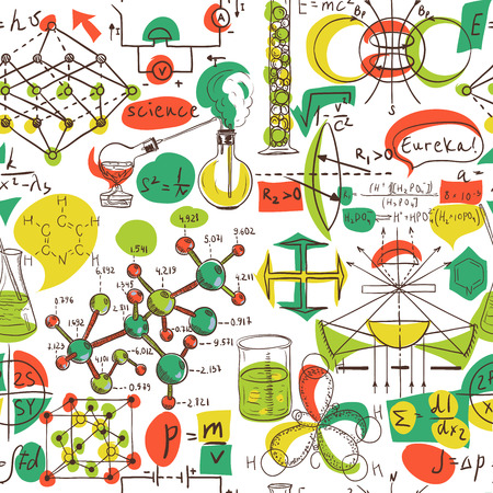 laboratory glass: Back to School: science lab objects doodle vintage style sketches seamless pattern, vector illustration.