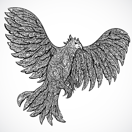 eagle flying: Flying eagle with decorative ornament. Tattoo art. Retro banner, invitation, card, scrap booking. t-shirt, bag, postcard, poster.Highly detailed vintage style hand drawn illustration Illustration