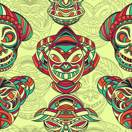 tiki head: Seamless pattern with collection of Tribal mask with aztec geometric latin American ornament. Retro hand drawn vector illustration