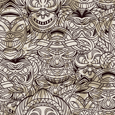 gods: Seamless pattern with collection of Tribal mask with aztec geometric latin American ornament. Retro hand drawn vector illustration