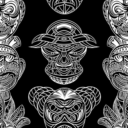 tiki head: Seamless pattern with collection of Tribal mask. Retro black and white highly detailed hand drawn vector illustration