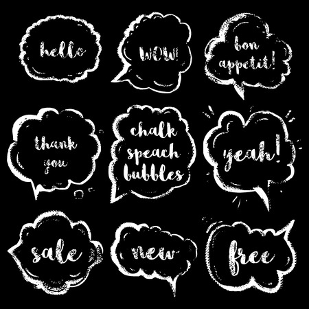 wow: tiza discurso burbujas conjunto con phraseshello corta, guau, buen provecho, gracias, s�, venta, nuevo, libre. Por Vintage vector dibujado illustration.isolated elementos.