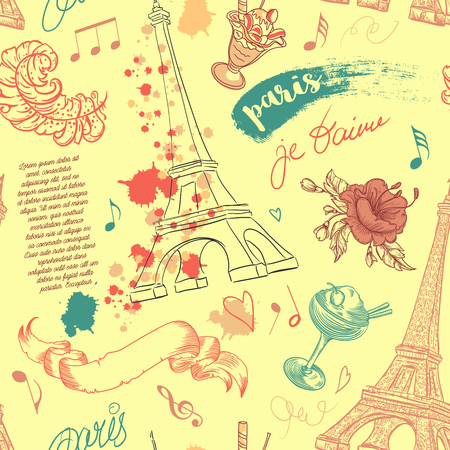 eiffel: Paris. Vintage seamless pattern with Eiffel Tower, flowers, feathers, cocktails and text. Retro hand drawn vector illustration. Illustration