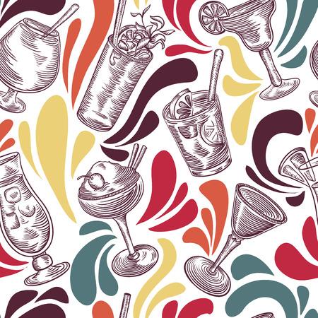 Seamless pattern with vintage cocktails and splashes. Cocktail party. Retro colorful vector illustration. Ilustração