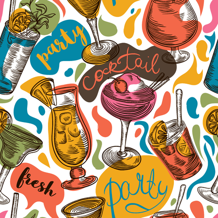 fresh juice: Seamless pattern with vintage cocktails and hand drawn lettering. Cocktail party. Retro colorful vector illustration.