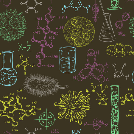 book background: Science laboratory seamless pattern with microbes and viruses. Vintage design set. Hand drawn vector illustration.