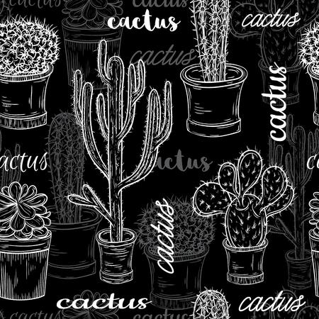 多肉植物と鉢にサボテンのフラット チョーク ボード黒と白のイラストのシームレスなパターン。かわいい花柄のベクトル植物のグラフィックを設定