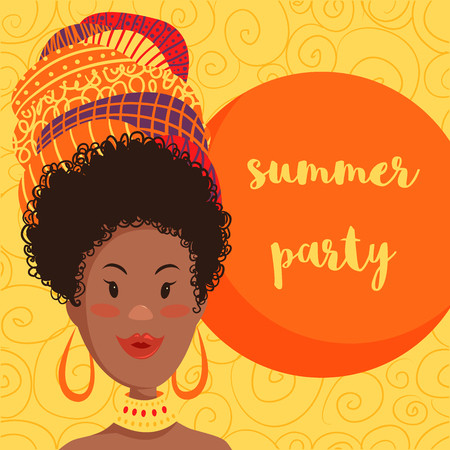 native american girl: Summer party invitation design with cartoon beautiful African woman in turban with ethnic geometric ornament. Hand drawn vector illustration Illustration
