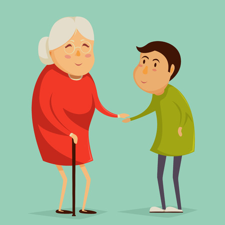 boy with glasses: Grandmother and child holding hands. Happy grandparents day poster. Vector illustration in cartoon style Illustration