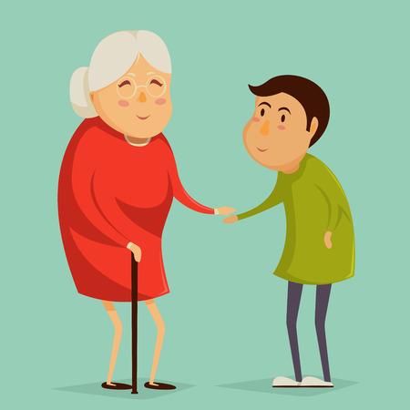 damas antiguas: La abuela y la celebraci�n de las manos del ni�o. Abuelos felices carteles d�as. Ilustraci�n del vector en estilo de dibujos animados Vectores