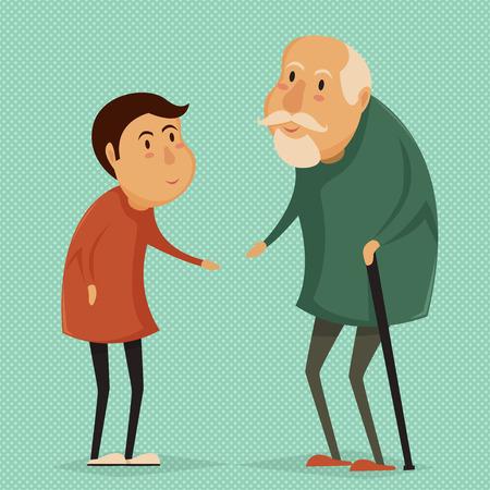 abuelo: Abuelo y niño. Abuelos felices carteles días. Ilustración del vector en estilo de dibujos animados Vectores