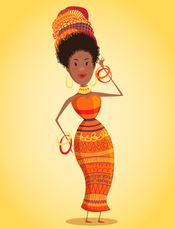 Cartoon beautiful African woman in turban and traditional costume with ethnic geometric ornament full length. Hand drawn vector illustration Illustration