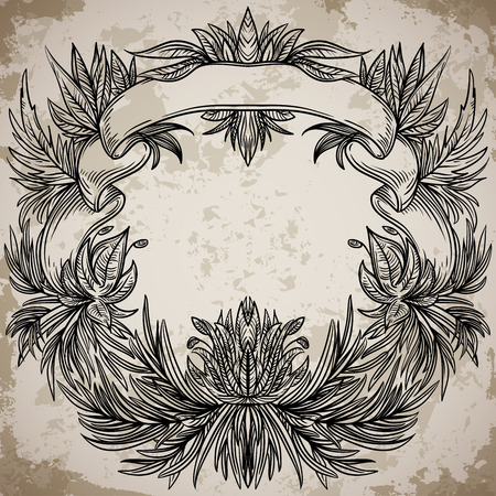 tropical tree: Antique border frame engraving with palm leaves and exotic flowers. Vintage design decorative element in baroque style on aged paper. Retro hand drawn vector illustration