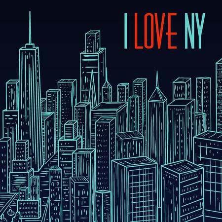 sky scraper: New York. Vintage colorful hand drawn city landscape. Vector illustration in line art style