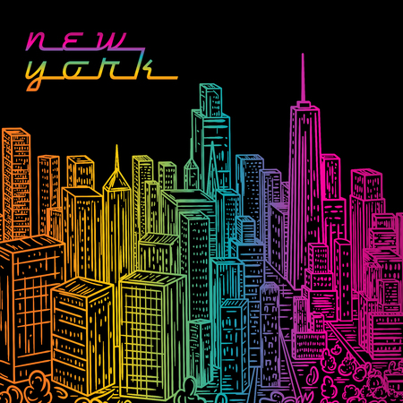 new york night: New York. Vintage colorful hand drawn night city landscape. Vector illustration in line art style Illustration