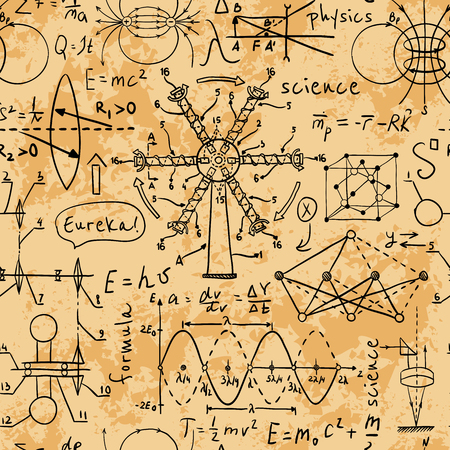 university students: Physical formulas, graphics and scientific calculations. Back to School: science lab objects doodle vintage style sketches on aged paper background. Vintage hand drawn illustration Illustration