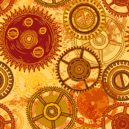 Vintage seamless pattern with gears of clockwork on aged paper background. Retro hand drawn vector illustration.