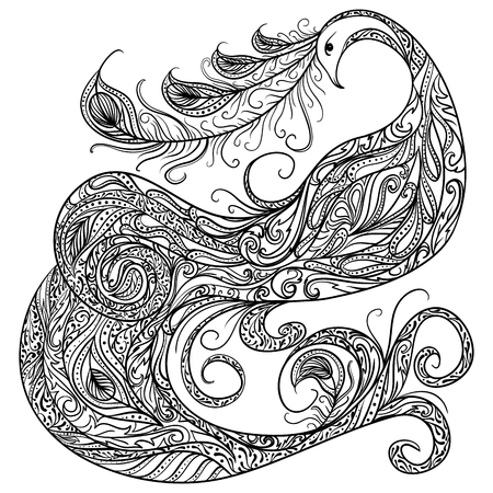 Peacock. Vintage fantasy bird with ornament. Black and white hand drawn vector illustration.