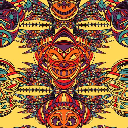 部族マスクとアステカの幾何学的なラテン アメリカ飾りのシームレスなパターン。手描きの背景イラスト