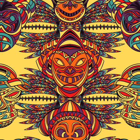 tiki head: Seamless pattern with tribal mask and aztec geometric latin American ornament. Hand drawn vector illustration