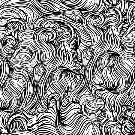 wavy hair: Abstract seamless pattern with wavy hair. Black and white hand drawn vector illustration in line art style
