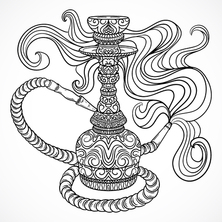 shisha: Hookah with oriental ornament and smoke.Vintage vector hand drawn illustration Illustration