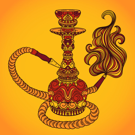 oriental vector: Hookah with oriental ornament and smoke.Vintage colorful vector hand drawn illustration Illustration