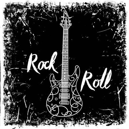Vintage hand drawn poster with electric guitar and lettering rock and roll on grunge background. Retro vector illustration. Design, retro card, print, t-shirt, postcard Ilustração